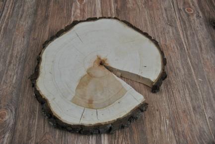 30 x 3 cm Baumscheibe Eiche Holzscheibe teilweise ohne Rinde