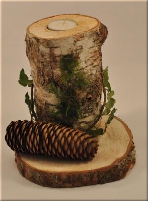 Baumscheiben teelichthalter bastelbedarf - Deko mit birkenholz ...