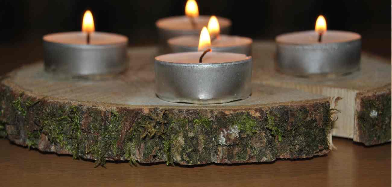 Baumscheiben teelichthalter bastelbedarf for Bastelbedarf floristik